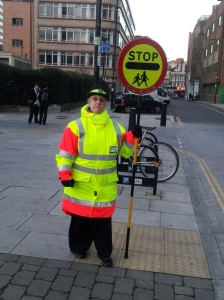 Pauline: lollipop lady at St Luke's School, EC1.