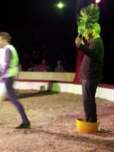 Pete May bravely stands in as a flower with Zippos Circus clowns.
