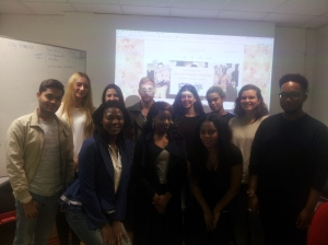 Valerie Goode from British ethical fashion brand Kitty Ferrerira (front row, left) with Nicola of islingtonfaces blogging students.