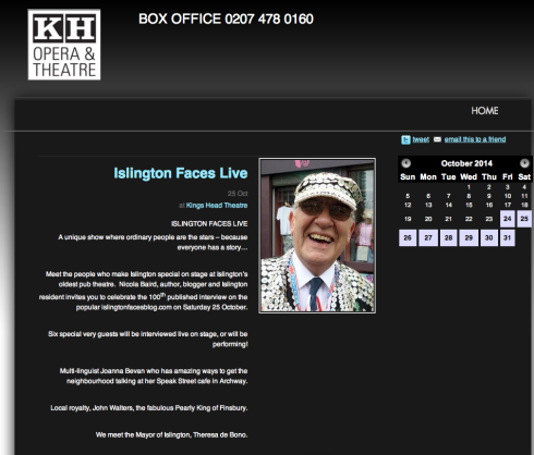 Screen grab from King's Head Theatre promoting the show on 25 October 2014.