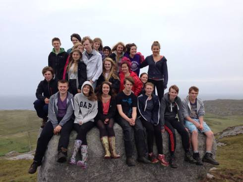 Some of the students on the selection course with Corinna, here seen after climbing the highest point on Coll.