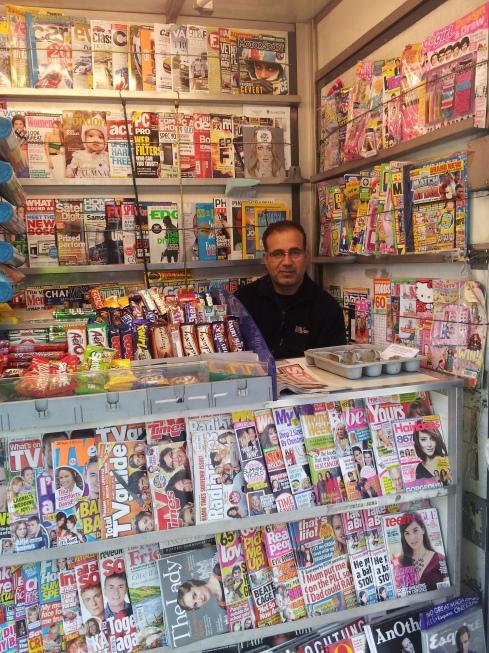 Abu Kalbin at the newspaper and magazine kiosk on the corner of Islington High Street and Liverpool Road.