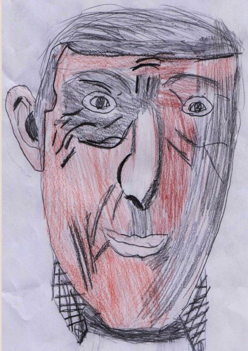 Danny Michelson drawn by Highbury Fields School student Asye Mewitt-Omer.