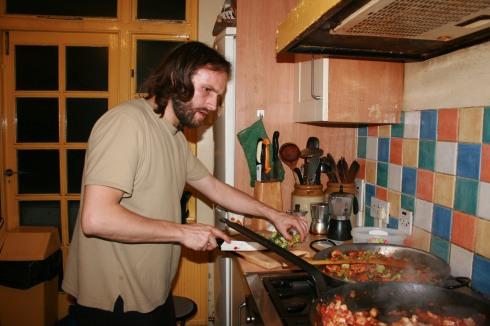 Making paella.