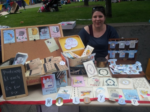 Molly Gorell Barnes on her Mollypop card stall at the Hornsey Street Festival.