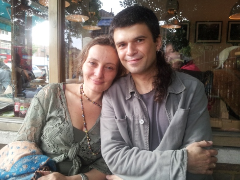 """When Elena and Paulo decided to move back to London it was Islington they wanted to live in. Here they are outside Vagabond – a favourite for """"morning and evening coffee""""."""