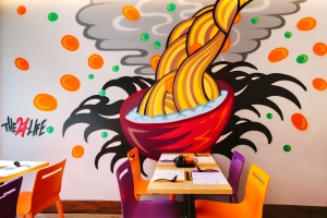 And as you eat enjoy the free-hand spray paint designs done by Japanese-British artist Daisuke Sakaguchi of The 27 Life.