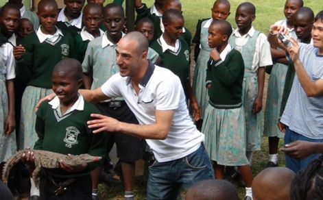 """Pete Prodromou just back from Uganda: """"I'm the only crocodile hunter who is mad enough to train a kid in a wheelchair how to capture a crocodile."""" You may have seen Pete in your local Islington library talking about wildlife and how we connect with it."""