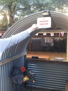 Chris Evans is building an Anderson Air Raid Shelter in the Blighty garden.