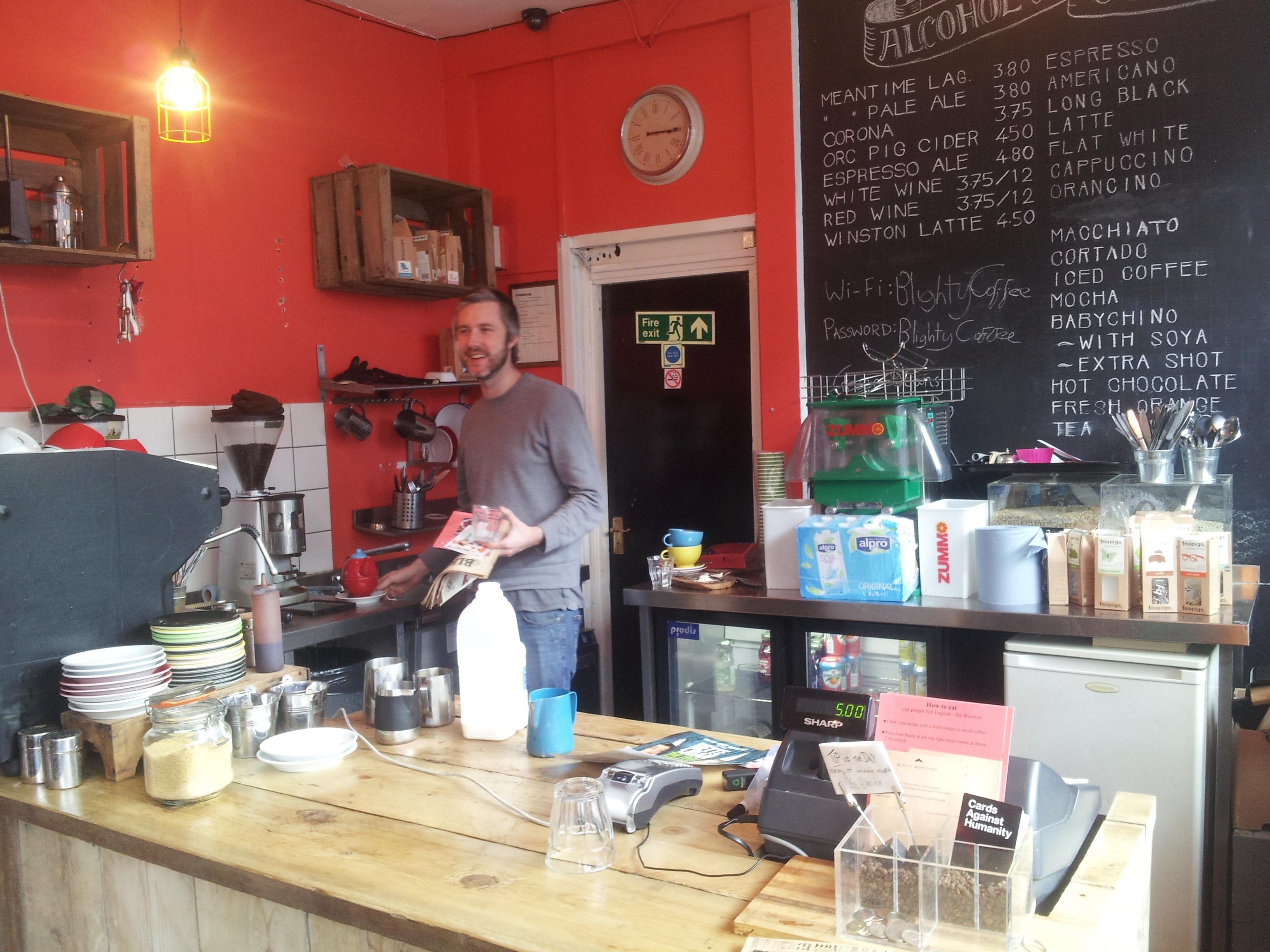 Chris Evans At His Blighty Cafe Blackstock Road