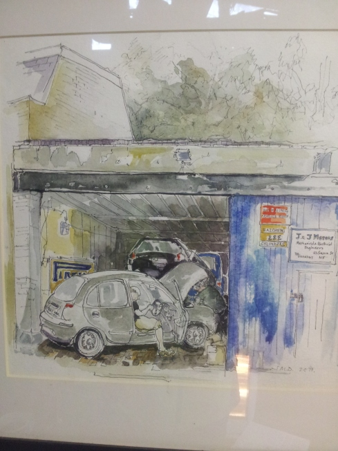 A J&J customer painted this picture for John Harvey - can you see him working on the car?