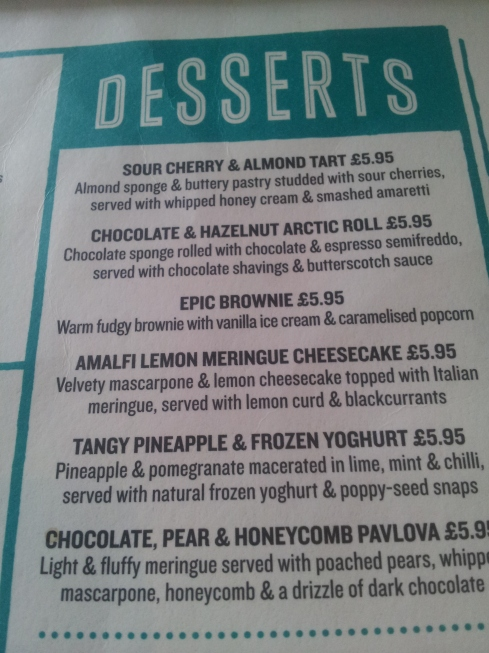I love to read the dessert menu - but am usually too full to manage to choose something from it! This was the case at jamie's Italian Angel.