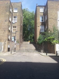 Gwynne Place (aka Riceyman Steps) summer 2015, taken from the Travel Lodge.