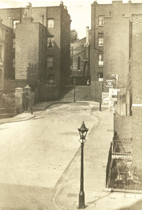 Riceyman Steps in 1924 - then known as Granville Place, but now findable as Gwynne Place, just behind the parking circle of the Travel Lodge on Farringdon Road.