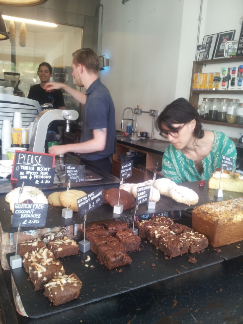 Staff still busy at 5pm at Coffee Works on a summer afternoon.