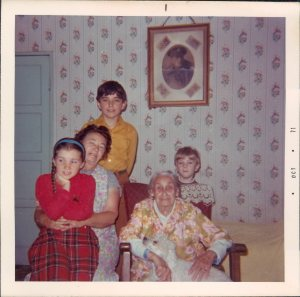 early 1970s Children with Granny and Great Granny in her new council flat
