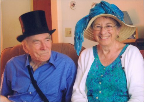 "Ivy Freeman: ""The funny hats picture was taken at a party we had for the Queen's Jubilee. Our American friends and neighbours were good sports and joined us. Bob and I continue to feel a very close bond with all things British."" (c) Ivy Freeman"