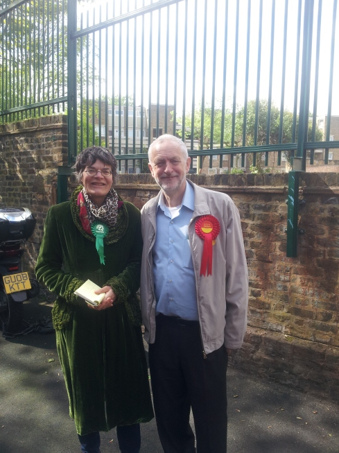 islington Faces writer Nicola Baird telling at a North Islington polling station in May. And guess who dropped by - couldn't resist a photo opportunity with Jeremy Corbyn, my favourite Labour MP.