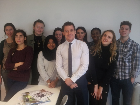 Archant Group Editor Mark Kebble with Year 1 BA students from London College of Communication, University of the Arts.
