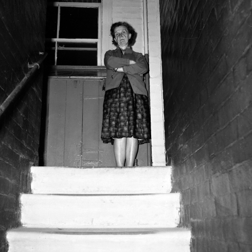 Box Brownie shot by Colin O'Brien of his mum on the steps going up to 118 Victoria Buildings. (c) Colin O'Brien