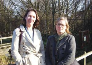 Katie Dawson (l) & Caroline Russell (r). Impressive Islington Green party campaigners. (c) Camden News Journal