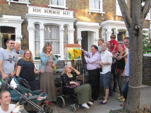 The first little free library in Islington went up in Prah Road - photo shows neighbours on the opening day. It features Samuel Plimsoll and Johnny Rotten (who grew up nearby).
