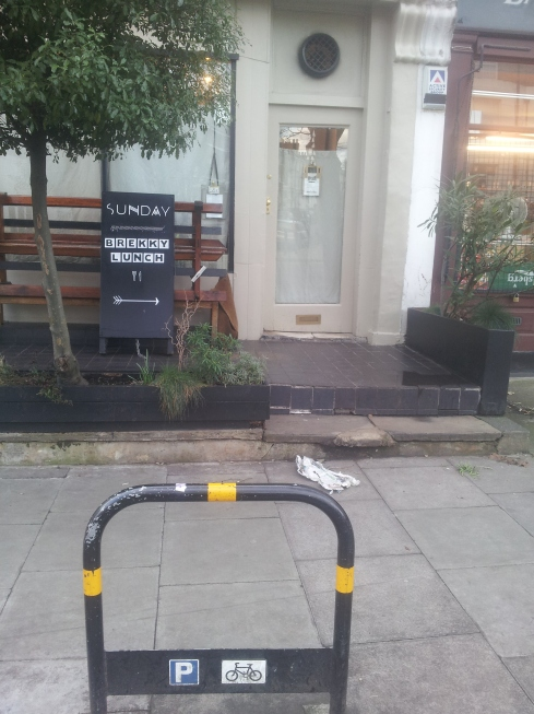 A Barnsbury breakfast legend - Sundays, complete with an easy place to park a couple of bikes.
