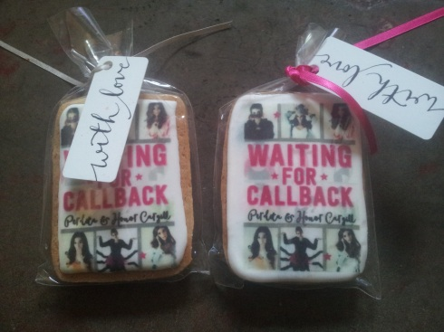 Iced cookies at the book launch of Honor & Perdita Cargill's Waiting for Callback.