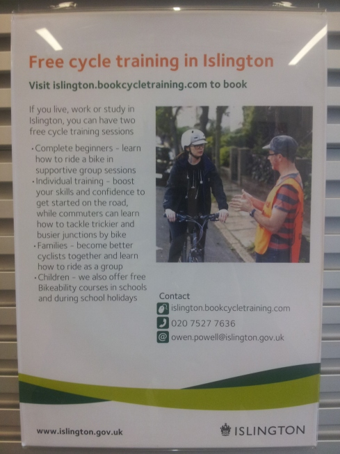 If you would like to cycle more (or want your kids to safely) you could try cycle training run by Islington Council. Could your next step after that be a Beespoke Tour to Paris?