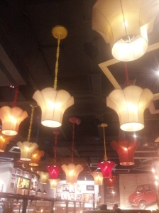 Upside down ceiling lights at the new Bella Italia in Angel Central.