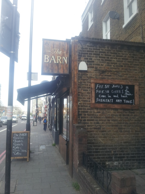 The Barn Cafe at 60 Holloway Road serves breakfast all day. It's got fab rustic decor and free wifi too. Find it just opposite St Mary's Church, close to Central Library.