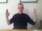 "John Hegley: ""That's how many books we had when I was growing up. I've got 1,000s now."""